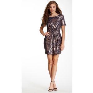 ELLA MOSS Boatneck Sequin Dress Blue Pink Sz S